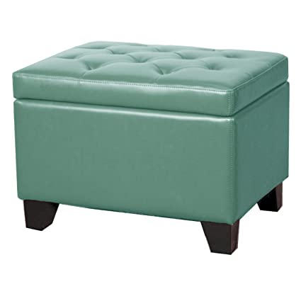 Swell New Pacific Direct 194424B 323 Julian Rectangular Bonded Leather Storage Ottoman Turquoise Andrewgaddart Wooden Chair Designs For Living Room Andrewgaddartcom