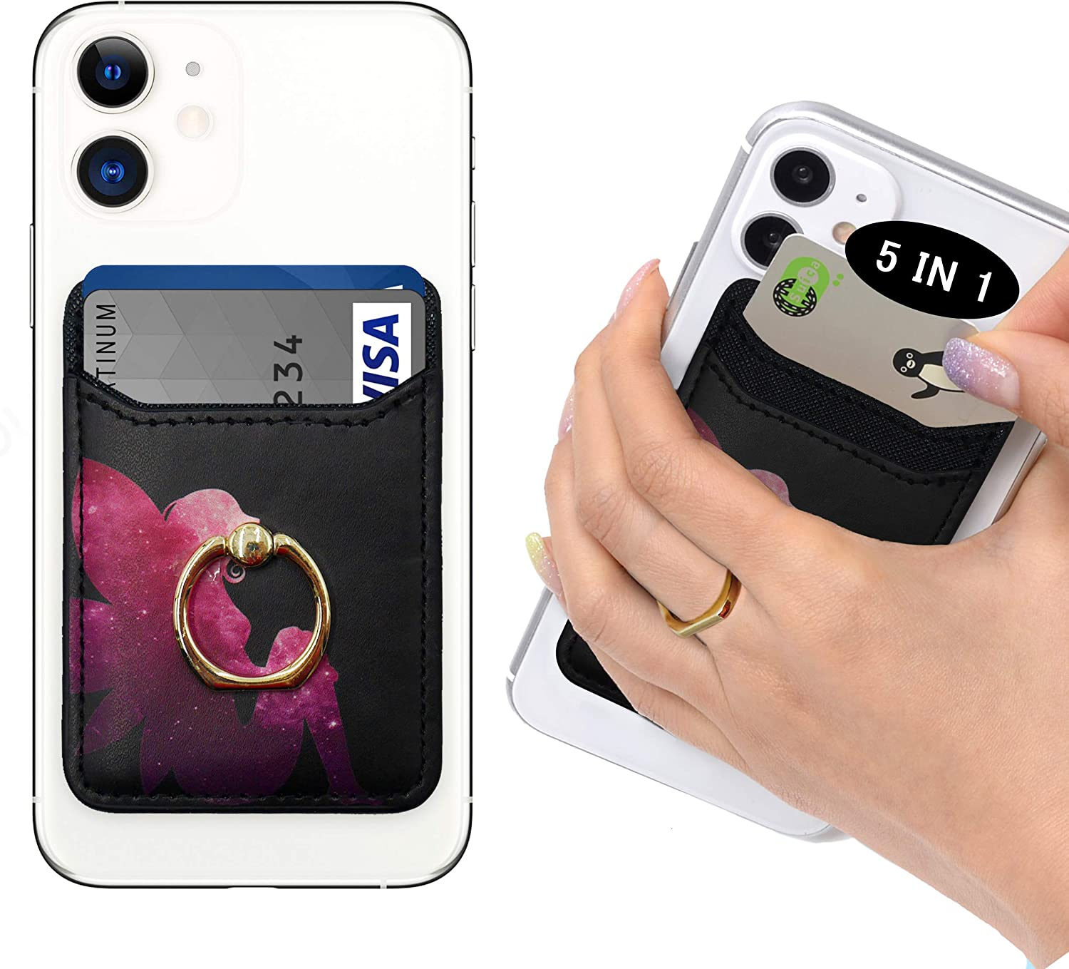 POLIFALL Leather Phone Card Holder (Fairy) 5 in 1 Stick On Wallet Sleeve Back - Double Pocket + Finger Ring Stand + Metal Plate for Magnet Mount + RFID Block for iPhone, Galaxy,Android,Mobile