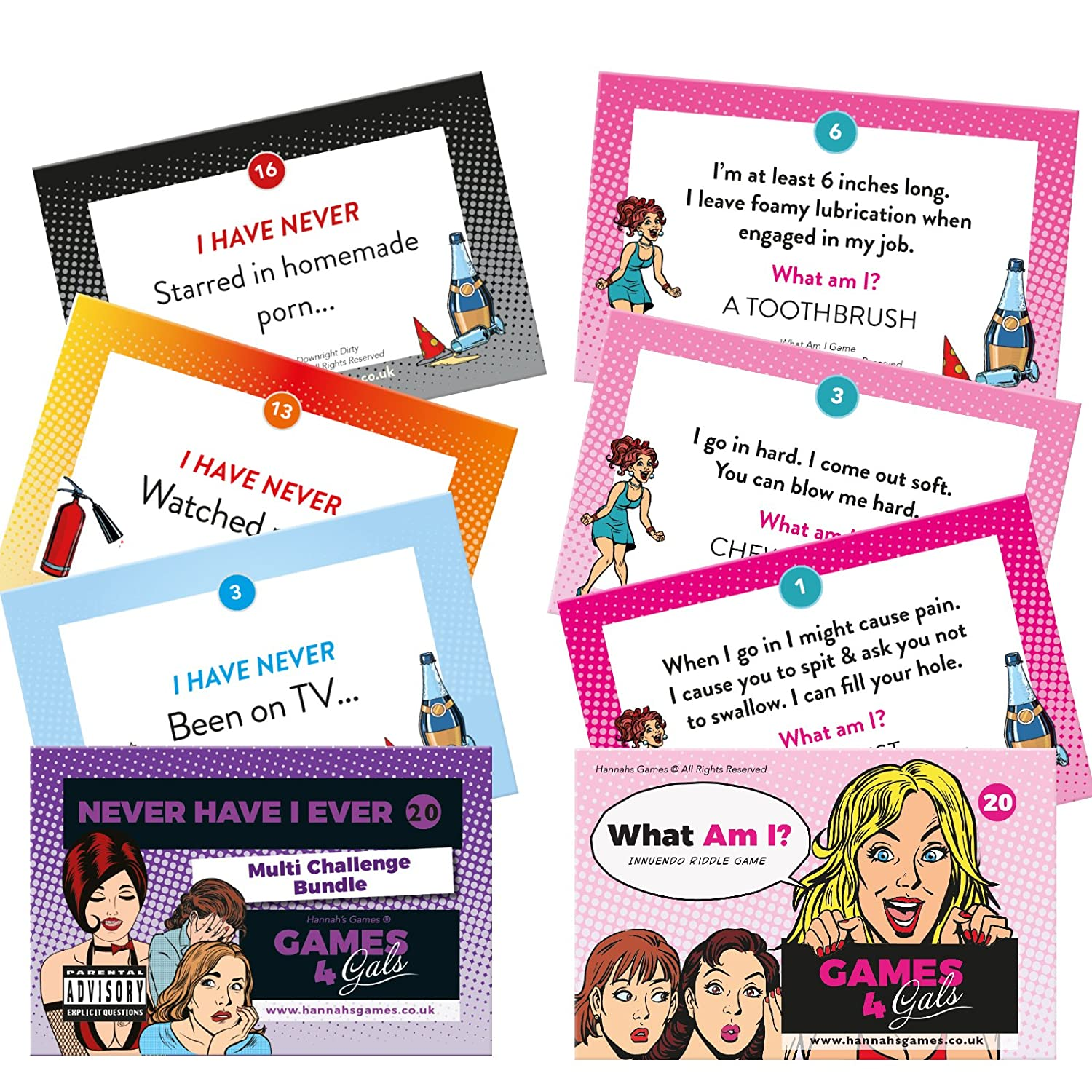 NEVER HAVE I EVER + WHAT AM I? GAMES BUNDLE Hen Party accessories Drinking Games Hannah' s Games