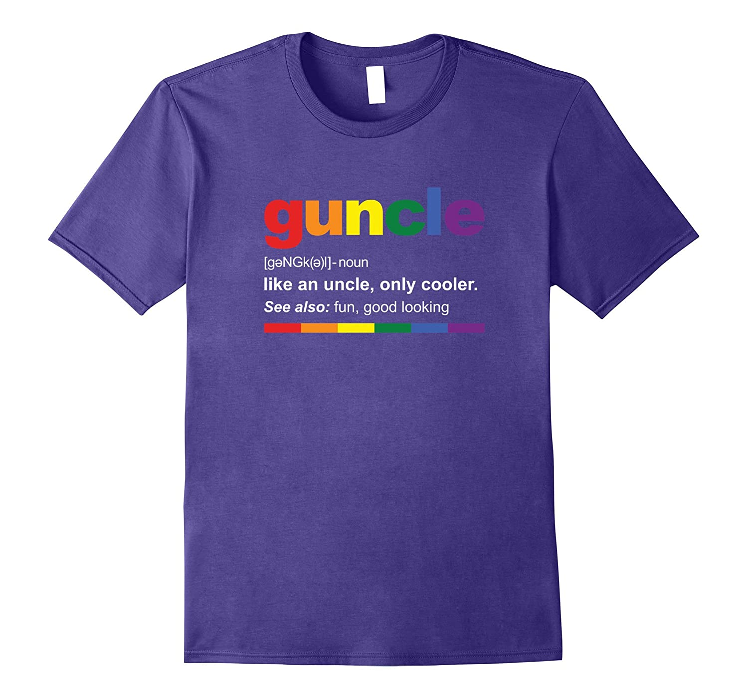 Mens Rainbow Guncle Definition T-Shirt Funny Gift for Gay Uncle-T-Shirt