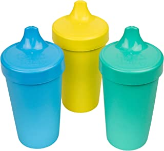 product image for Re-Play Made in USA 3pk No Spill Sippy Cups for Baby, Toddler, and Child Feeding in Aqua, Sky Blue and Yellow | Made from Eco Friendly Heavyweight Recycled Milk Jugs - Virtually Indestructible (Surf)