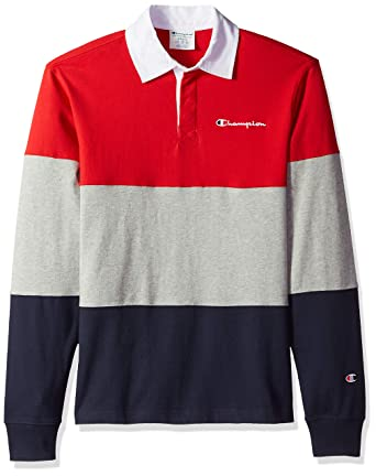 e66d5fe61069 Champion LIFE Men's Colorblock Rugby Shirt, Scarlet/Oxford Grey/Navy, Small
