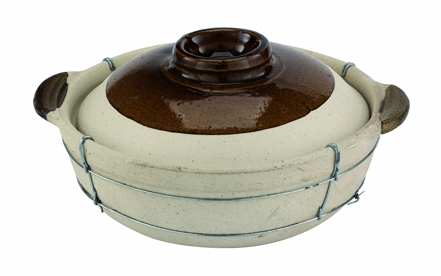 Paderno World Cuisine Dual-Handled Unglazed Cooking Pot with Lid
