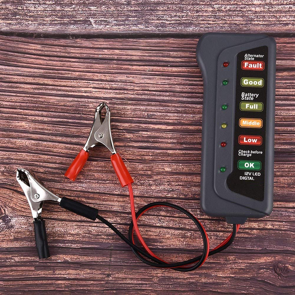 Duokon 12V LED Coche digital Motocicleta Probador de carga de bater/ía Analizador Alternador Arranque Verifique Condici/ón de la bater/ía y carga del alternador