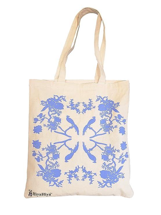 HiyaHiya - Bolsa Proyecto Bolsa, algodón, Blanco/Azul, 2 x 20 x 20 ...