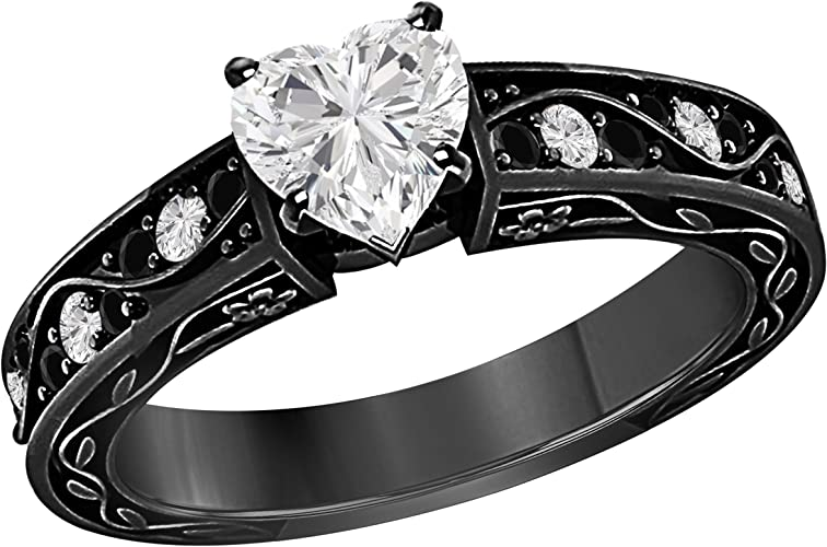 1.00 CT Heart Shape Simulated CZ Diamond /& Green Emerald 925 Sterling Silver Plated Engagement Ring for Womens