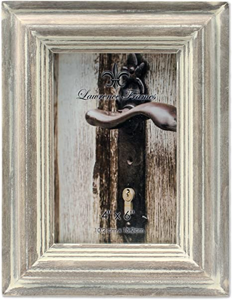 Distressed Wood Picture Frame Brown /& Gray Holds a 4x6 Photo