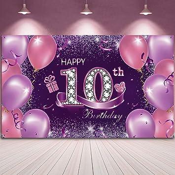 Alles Gute Zum Geburtstag Party Dekoration Großer Stoff Rosa Lila Happy 10th Birthday Jahrestag Zeichen Banner Foto Stand Hintergrund Mit Seil Für Mädchen Geburtstag 72 8 X 43 3 Zoll Spielzeug