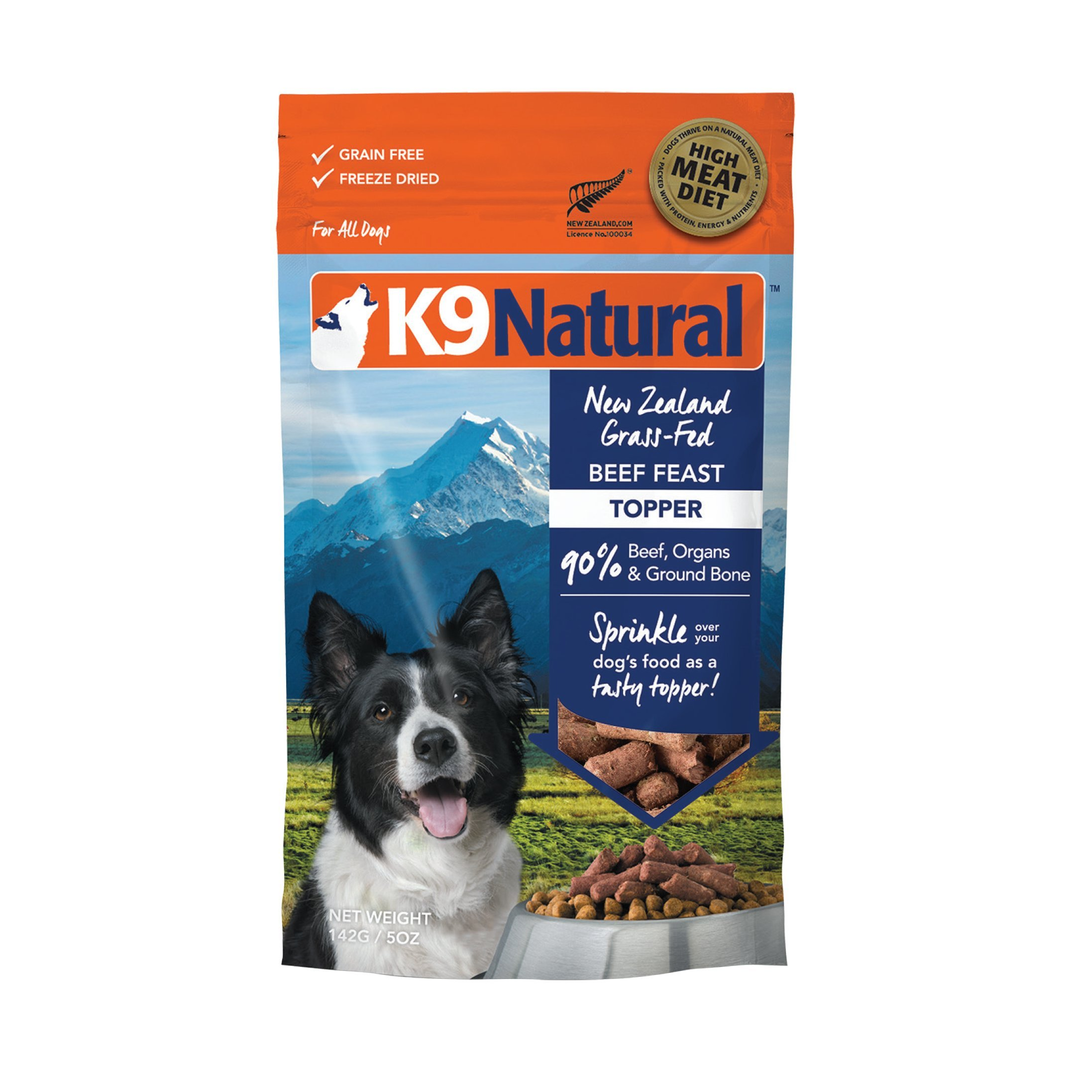 Freeze Dried Dog Food Topper By K9 Natural - Perfect Grain Free, Healthy, Hypoallergenic Limited Ingredients For All Dogs - Raw, Freeze Dried Mixer - Beef Topper - 5oz Pack