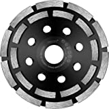 HERZO Diamond Grinding Cup Wheel Double Row Grinding Cup for Angle Grinder 5-inch