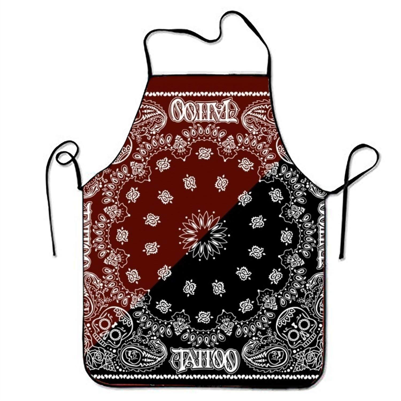 Tatooパターン背景キッチン料理エプロン女性と男性用調節可能なネックストラップレストランホームキッチンエプロンBib for、料理BBQ   B07FTK43BV