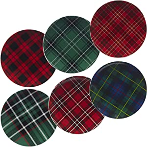 """Certified International Christmas Plaid 8.25"""" Salad/Dessert Plate, Set of 6 Assorted Designs, One Size, Mulicolored"""