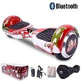 """Cool&Fun Hoverboard Elettrico, Monopattino regalo di natale con LED, con Bluetooth, Due Ruode 6.5"""", 12KM/H, Motore 2*350W (Natale-Rosso)"""