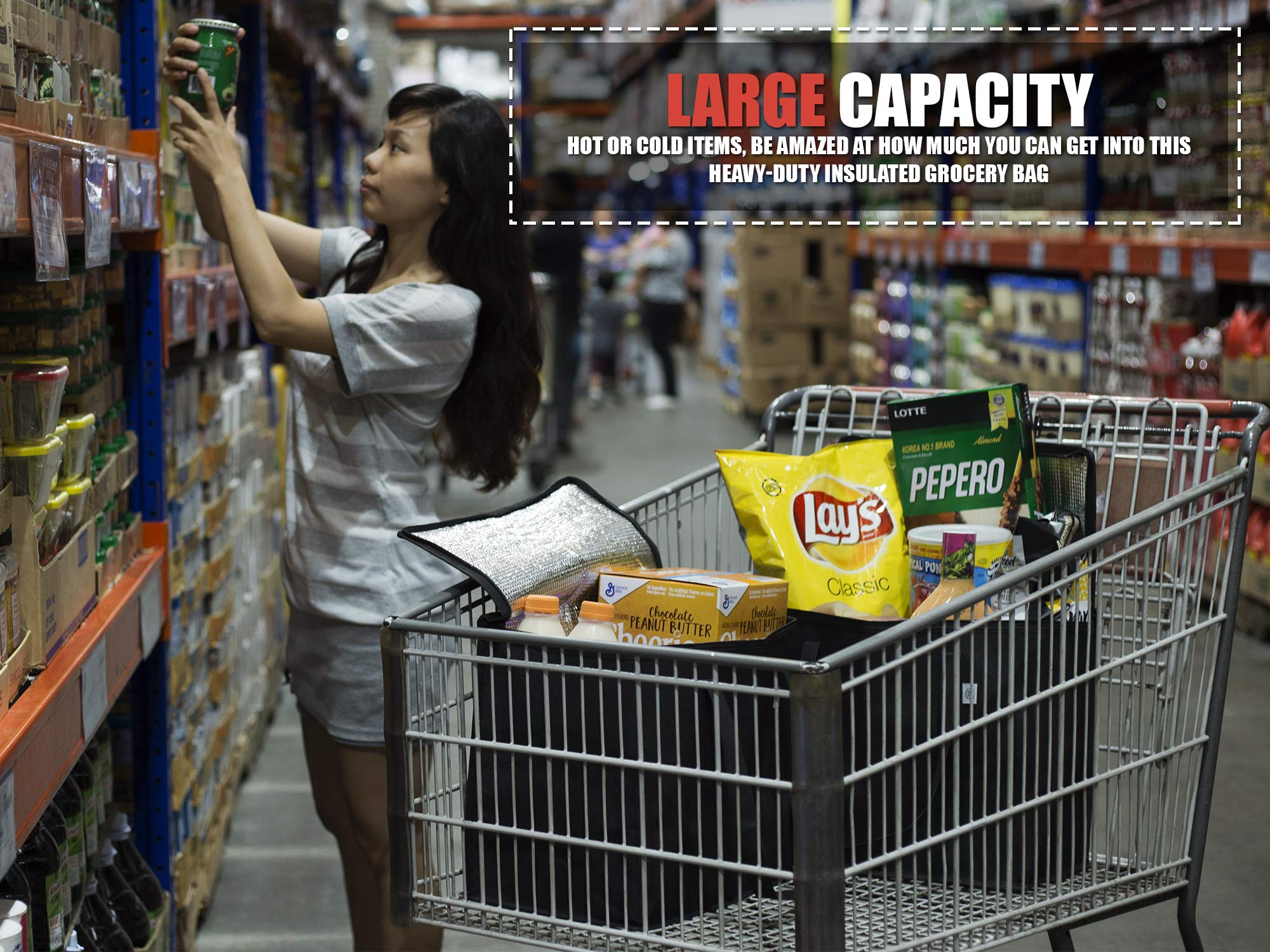 2 Pack Reusable Grocery Tote Bag by Ks Country - Collapsible and Stands Upright with Durable Zippers and Large Reinforced Handles for Extra Strength - Sturdy and Insulated to Keep Foods Cold or Hot by Ks Country (Image #8)