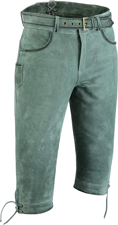 Lederprofi Pantalones de Piel de Nobuk para Caza, Pantalones de Piel para Hombre, Mujer, Pantalones de Cuero hasta la Rodilla, con cinturón, Color Gris, hasta la Rodilla, para Hombre y Mujer