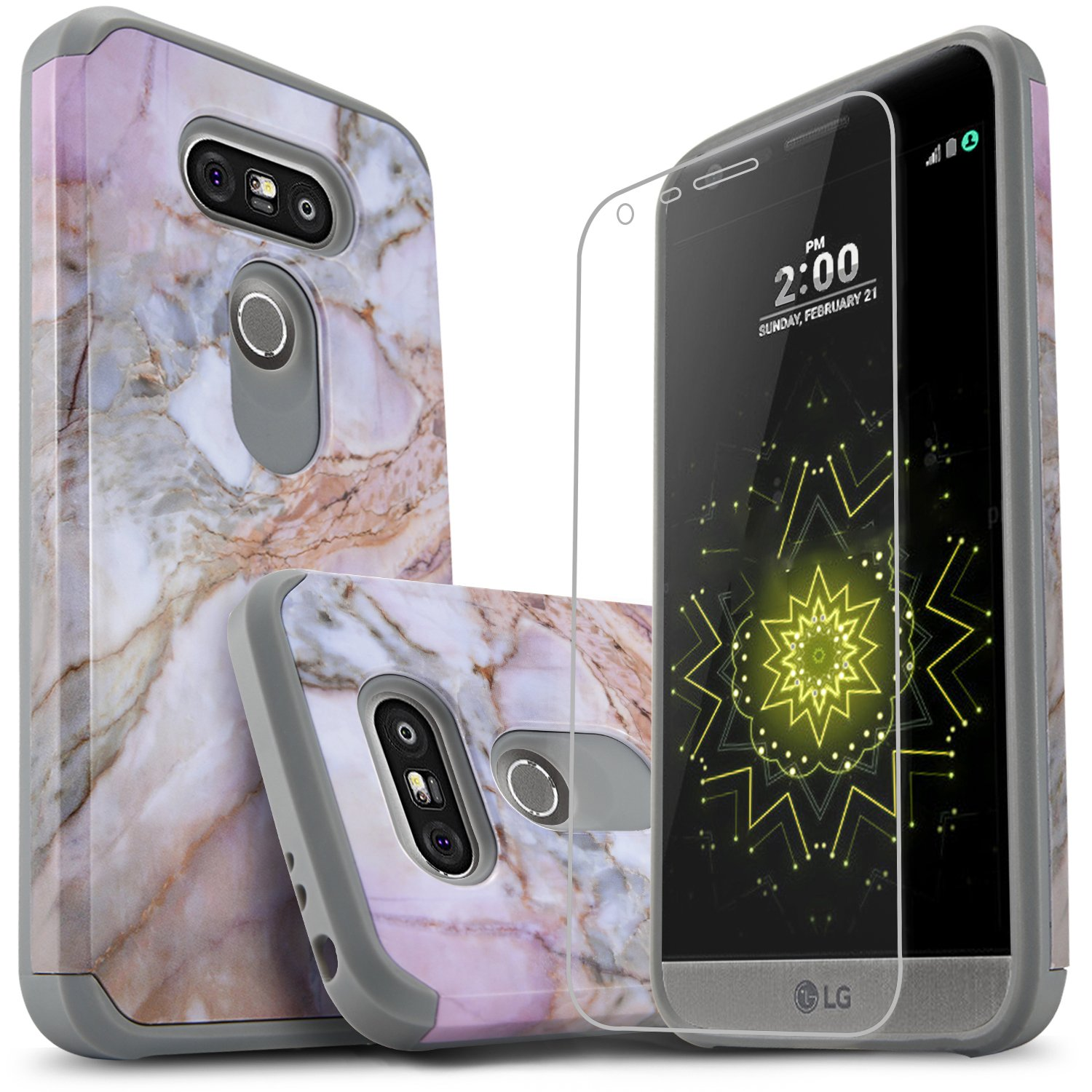 LG G5 Case, Starshop [Shock Absorption] Dual Layers Impact Advanced Protective Phone Cover with [Premium HD Screen Protector Included] for LG G5 (Marble Pattern)