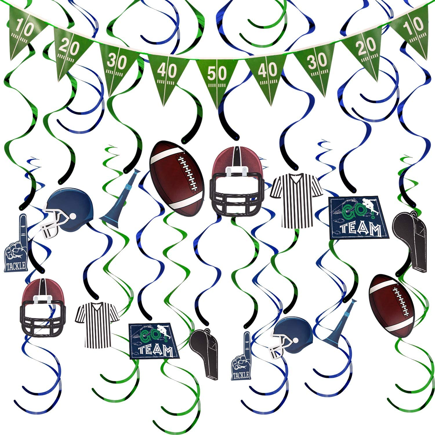 AIEX American Football Hanging Swirl Decorations FootballTheme PartyDecorations for Sports Game Day Birthday FootballPartySupplies Fan Decors