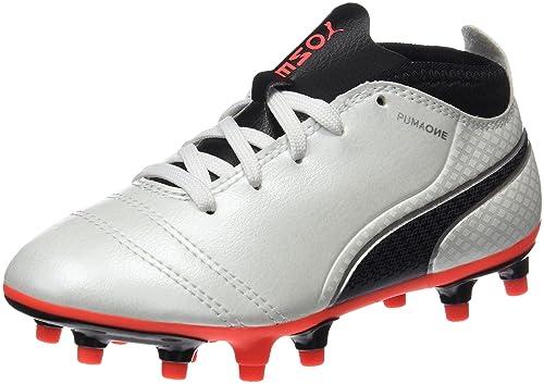 Puma One 17.4 TT Jr, Chaussures de Football Mixte Enfant, Blanc (White-Black-Fiery Coral), 34 EU