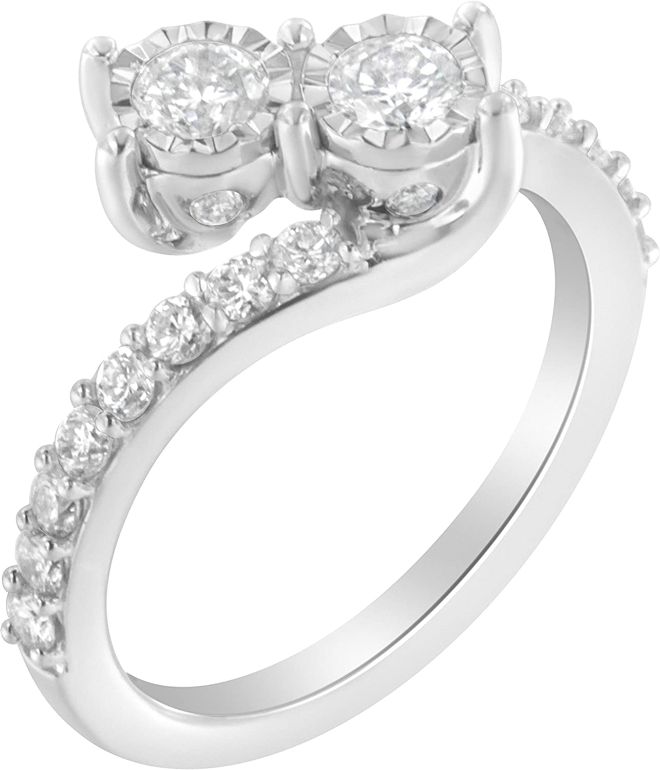 10K Princess Diamond Accent Bypass Engagement Ring Size 7 White Gold