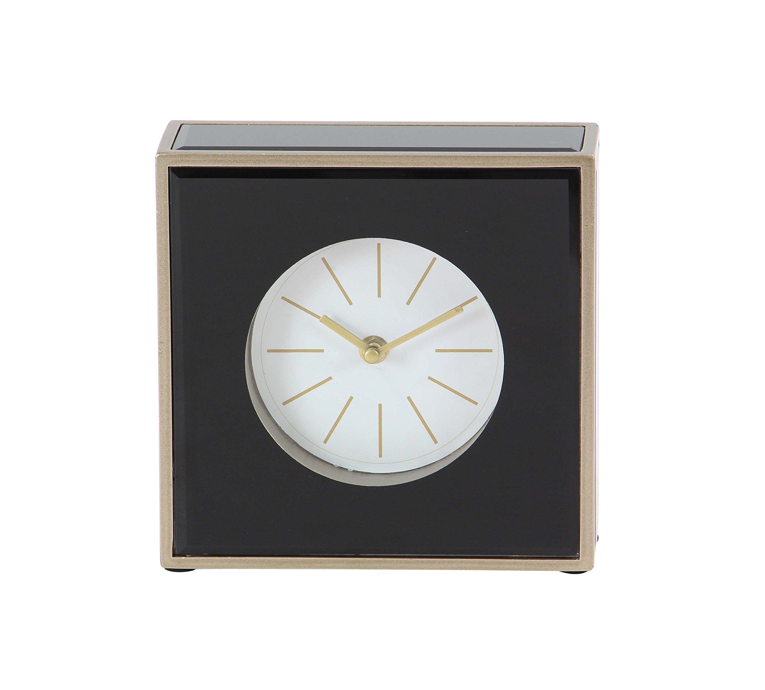Deco 79 87388 Table Clock, Black/Brown/Gold/White - Suits perfectly in your room's side table Gold finish adds elegance to your space MDF wood provides durability to the frame - clocks, bedroom-decor, bedroom - 81sEdv2YZnL -
