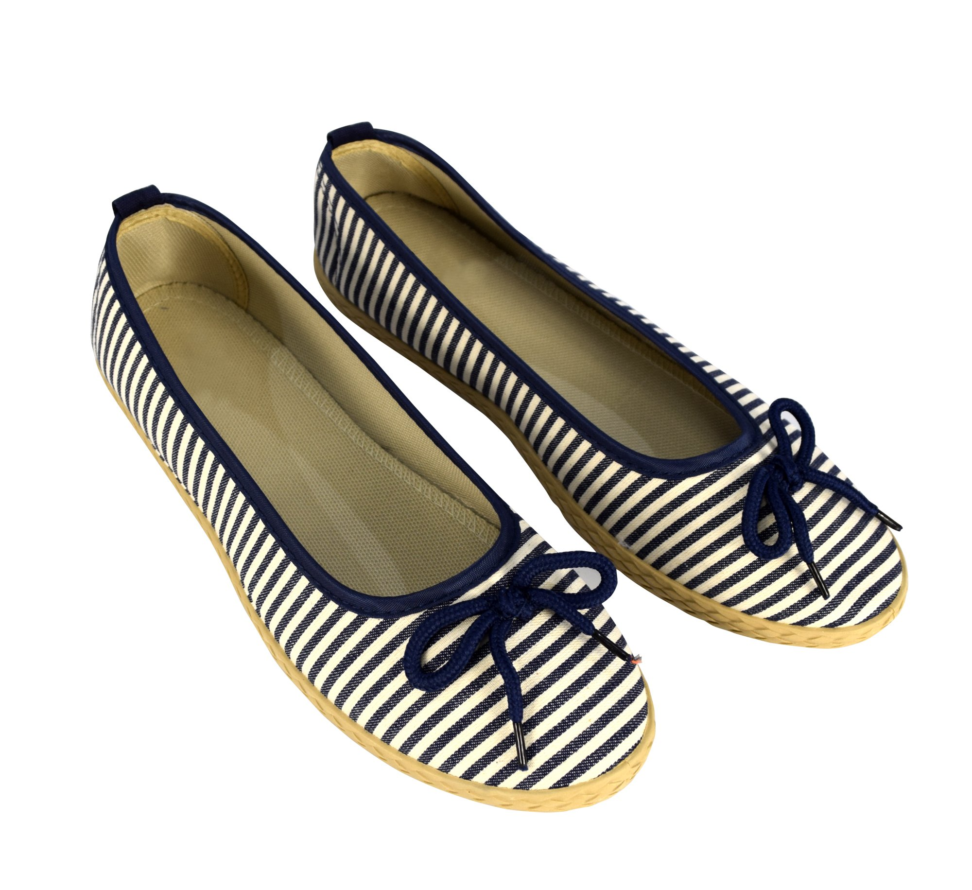 Peach Couture Womens Casual Striped Slip On Flat Espadrilles Bow Ballet Flats Shoes Navy 10 B(M) US