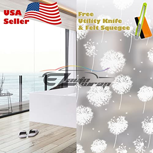 Free Tool Kit EZAUTOWRAP Dandelion Flower Frosted Glass Peel and Stick Window Film Home Bedroom Bathroom Privacy Waterproof Sticker Decal – 36 X600 3FT X 50FT