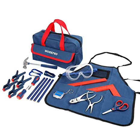 a87da77672ca Amazon.com: WORKPRO 23-piece Children's Real Tool Kit with Bag: Toys & Games