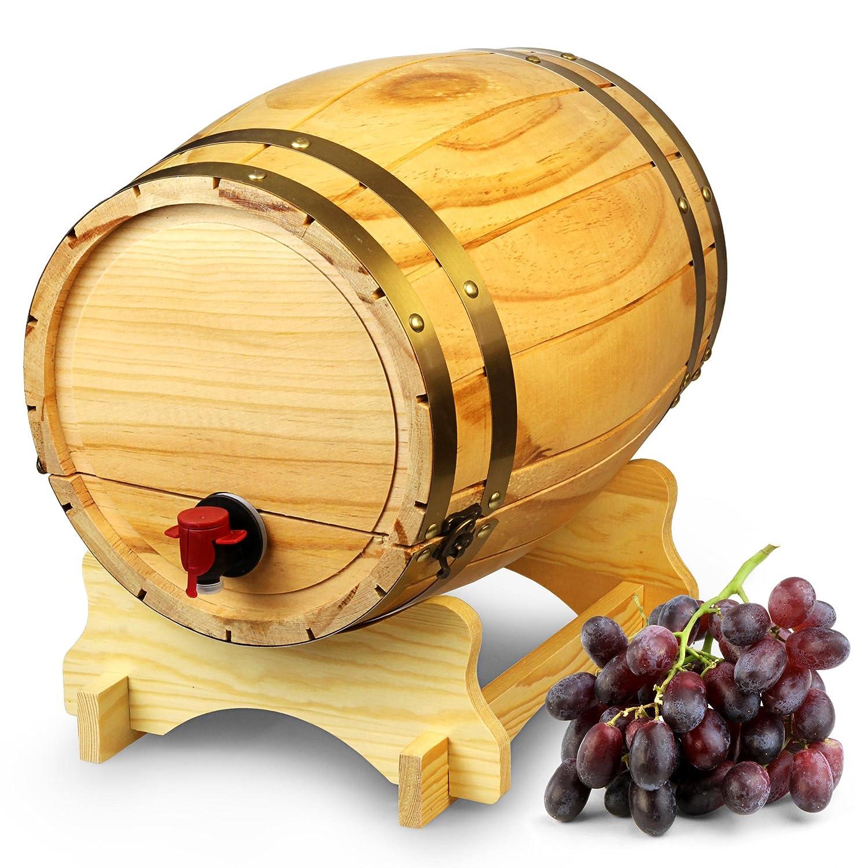 Holz Weinfass Spender Kiefer Natur 10 Liter –  Vintage Stil Tabletop Wein Spender bar@drinkstuff