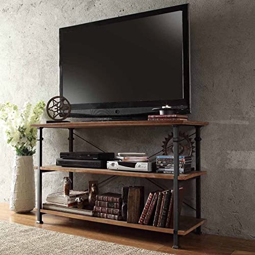 Modern Industrial Rustic Light Brown Wood Metal TV Stand Sofa Table Console Buffet – Includes ModHaus Living TM Pen