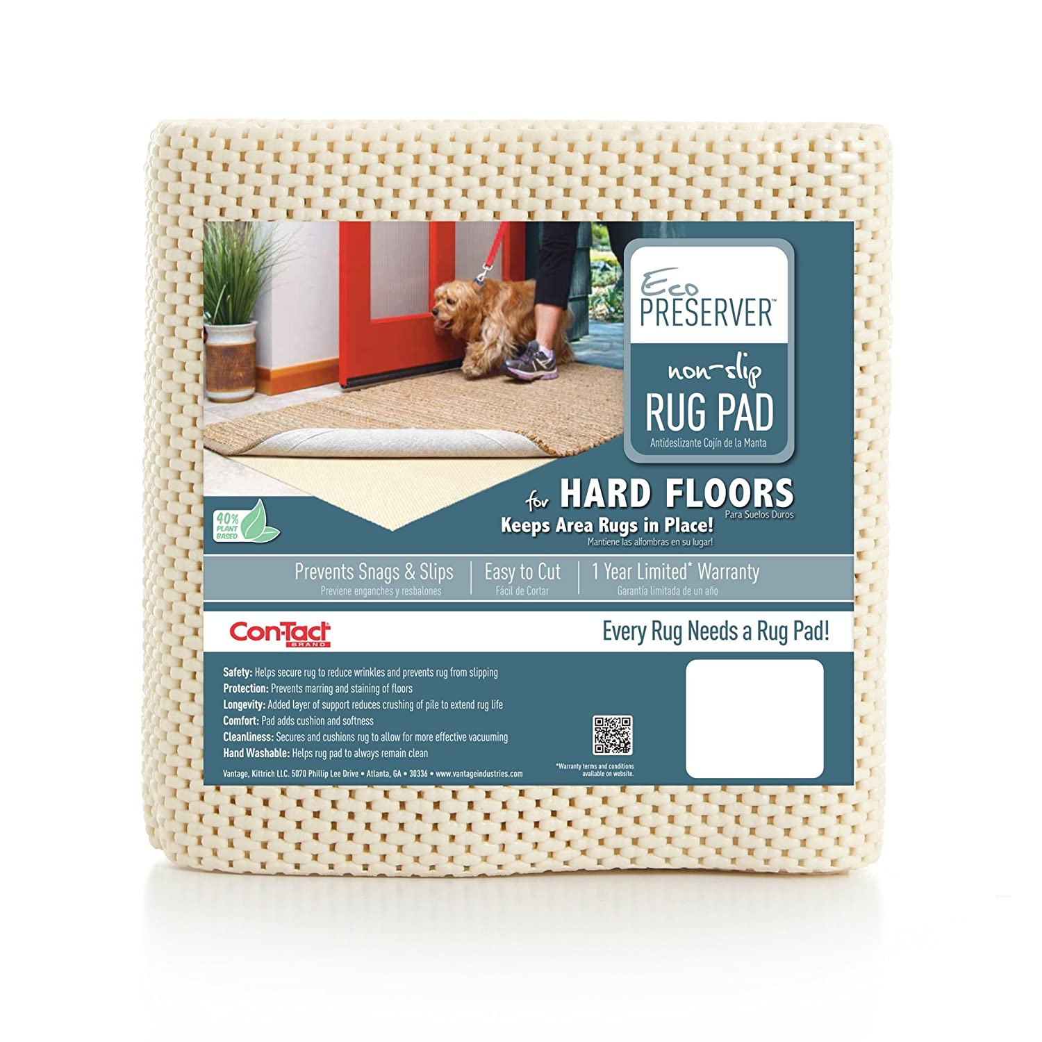 Con-Tact Rug Pad 10x14, Non-Slip Area Rug Pad, Eco-Preserver for Hard Floors