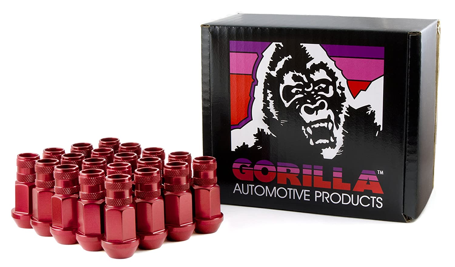 Gorilla Automotive 44038RD-20 Red 12mm x 1.50 Thread Size Aluminum Open End Racing Lug Nut, Pack of 20