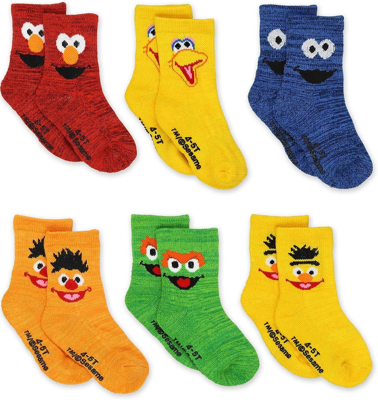Sesame Street Elmo Boy's Girl's Multi Pack Crew Socks with Grippers (Baby/Toddler): Clothing