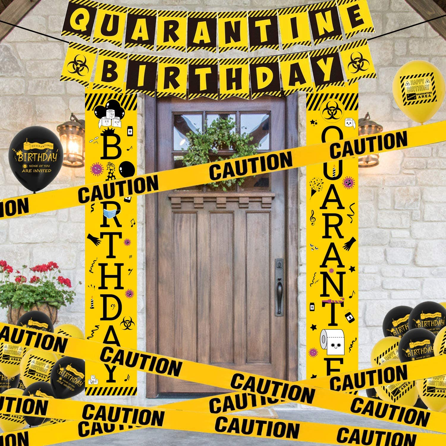Quarantine Birthday Party Decorations Quarantine Theme Porch Signs,Welcome Banner,Balloons,Yellow Caution Tape,Hanging Swirls Social Distancing Home Party Supplies for kids Girls Baby Indoor Outdoor