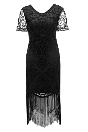0f41e33674 Metme Women s 1920s Formal Evening Fringe Dresses Braided Rope Art Deco  Lace Bodycon Cocktail Flapper Dress