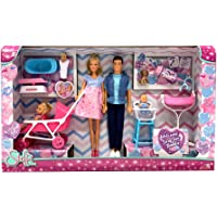 Simba Love Welcome Family (Steffi incinta, Kevin, Evi) con 9 accessori, 105733426