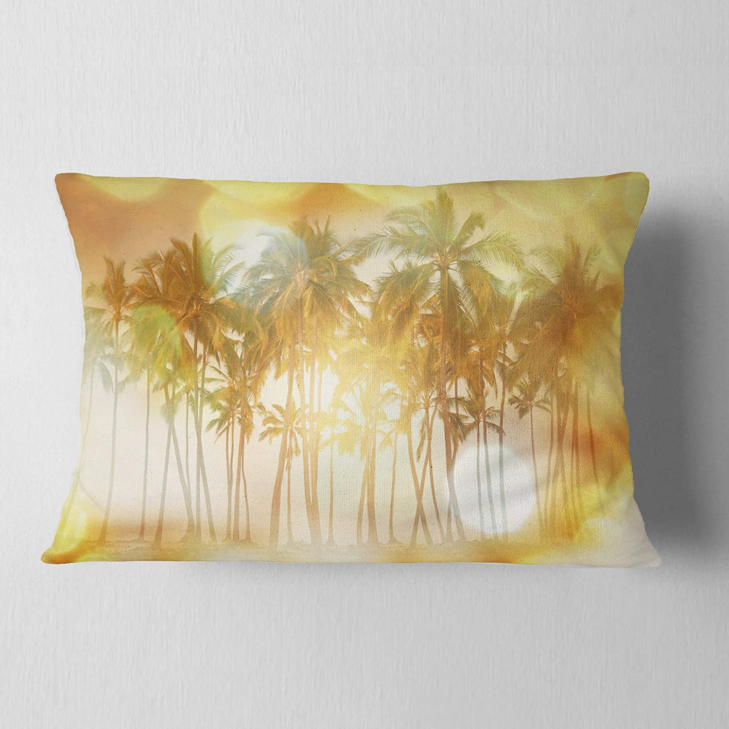Designart CU12507-12-20 Palms in Serene Tropical Beach Landscape Printed Lumbar Cushion Cover for Living Room Sofa Throw Pillow 12 in in x 20 in Insert Side