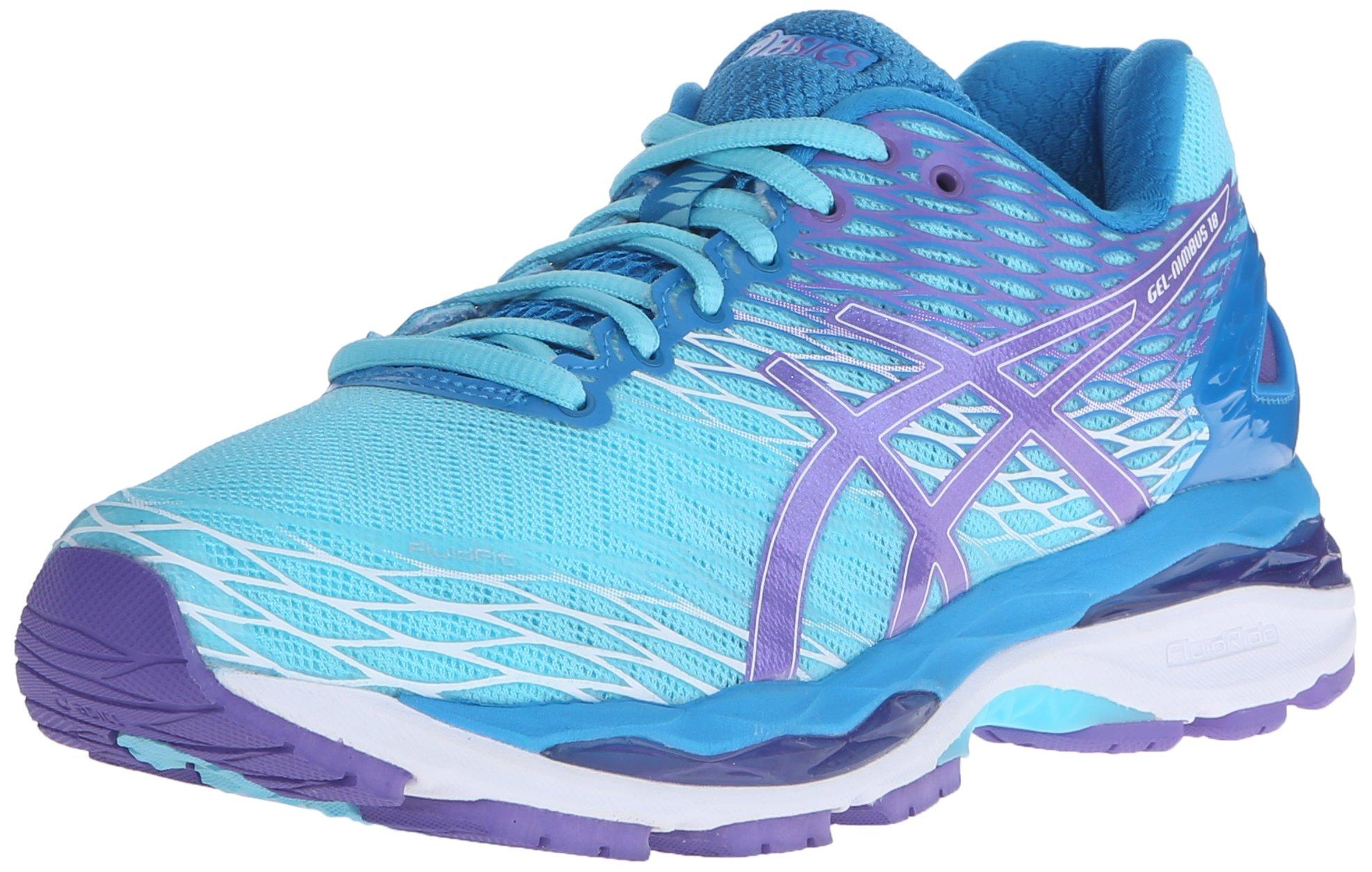 ASICS Women's Gel-Nimbus 18 Running Shoe, Turquoise/Iris/Methyl Blue, 6.5 D US