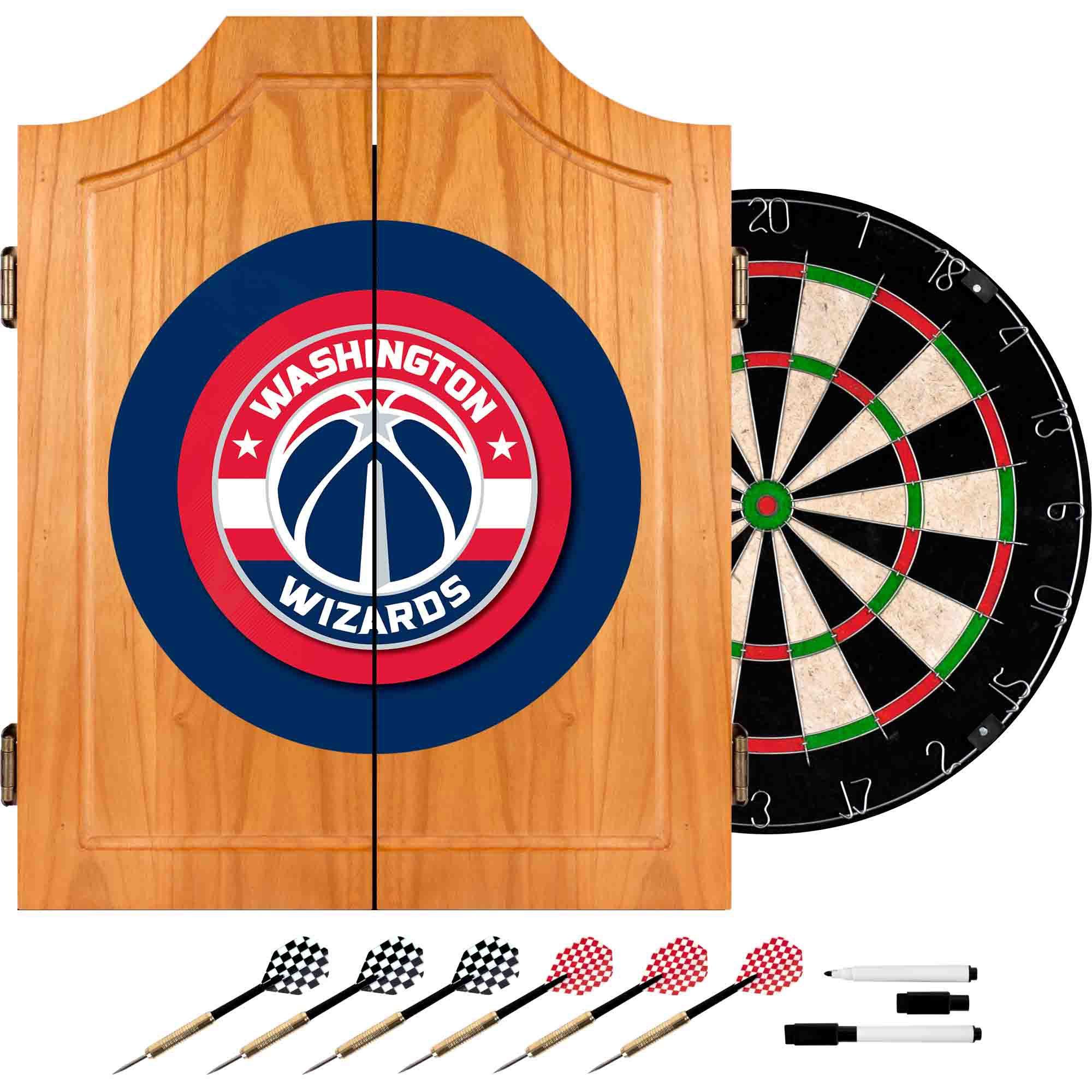 Trademark Gameroom NBA Washington Wizards Wood Dart Cabinet Set