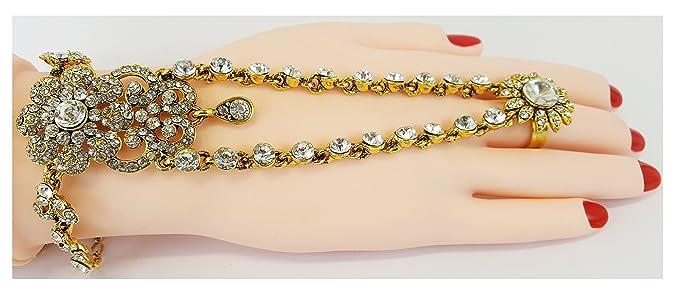 Joyas de boda - Un regalo perfecto-HP24GS Mano Panja India Bollywood anillo pulsera Joyería