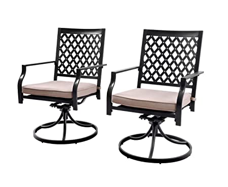 EMERIT Outdoor Dining Patio Metal Swivel Chairs Rockers Set of 2,Black
