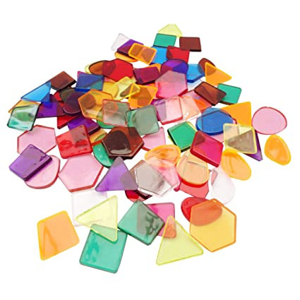 Clear Colour Translucent Mosaic Plastic Shapes Tiles Art & Craft Stained  Glass - Pack Size: 50