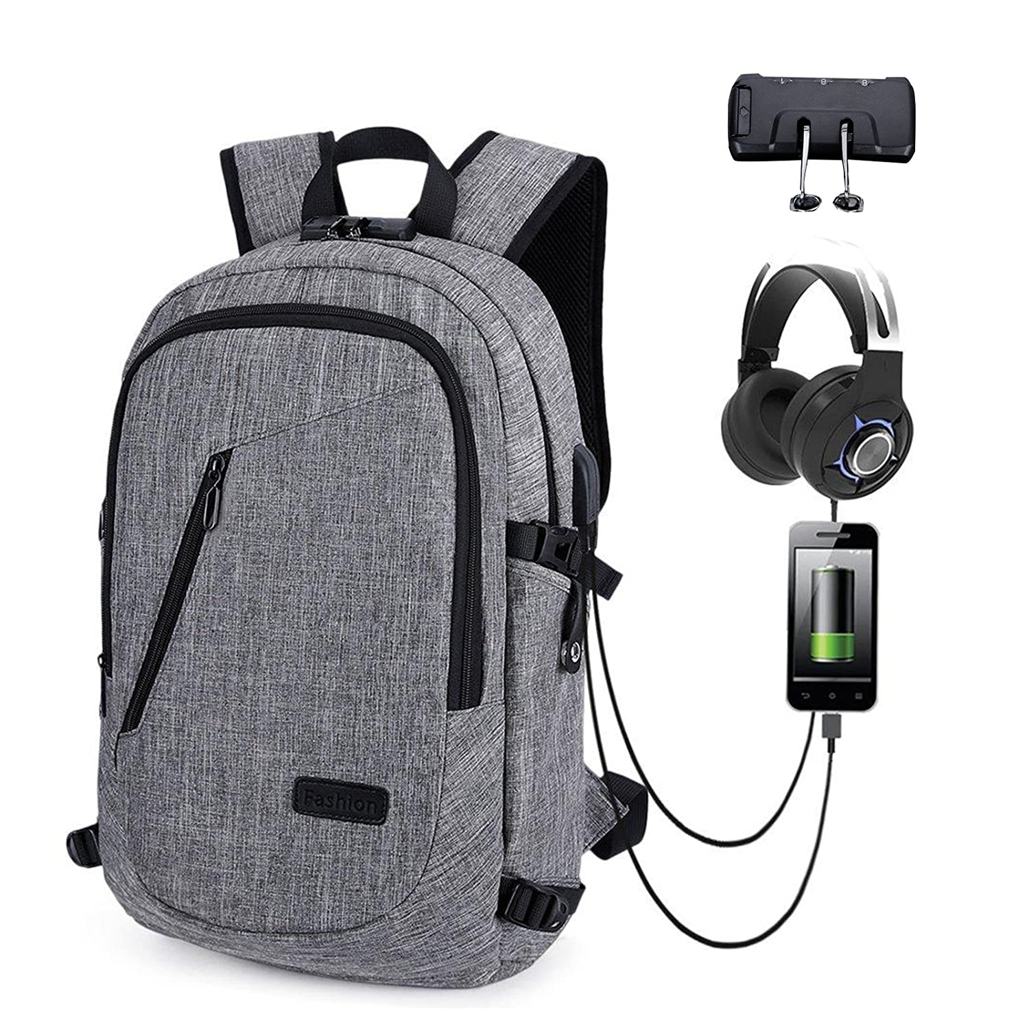 Antil Theft Backpack,waterproof material Business School Bag with USB Charging and Headphone Port for College Work Fit 15.6 Inch Laptop