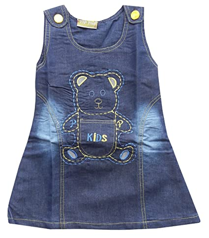 0c82955028e BabyMart High Quality Baby Girls Soft Denim Frock Middy Dress Infant Jeans  Party Wear Frock Dress for 0-24 Month Baby Girl (Yellow