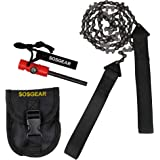 """SOS Gear Pocket Chainsaw and Fire Starter - Survival Hand Saw in Embroidered Pouch, Firestarter with Built in Compass & Whistle for Camping, Hunting & Fishing – Black Straps, 24"""" or 36"""" Chain"""