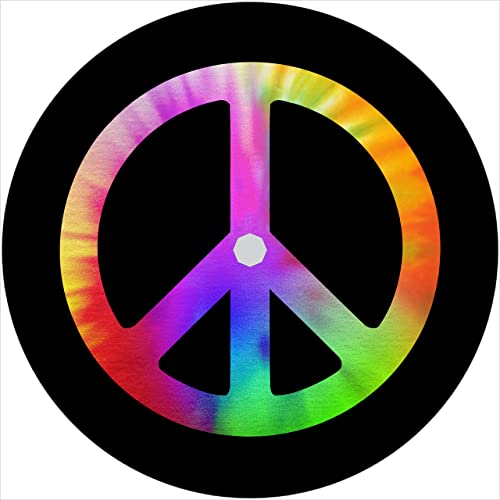 TIRE COVER CENTRAL Peace Sign Tie Dye Spare Tire Cover Select tire Size Back up Camera in MENU Custom Sized to Any Make Model 255 75r17 Back up Camera Opening