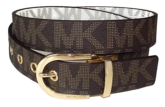 bfd8e7944834 Image Unavailable. Image not available for. Color  Michael Kors Vanilla  Brown Signature Reversible Belt Gold Buckle Size-Large
