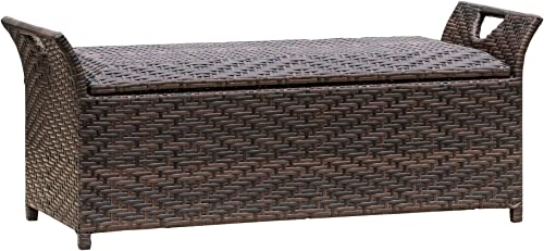 Multipurpose Outdoor Storage Bench with Wing Handles – Made From Wicker in Multi-brown Color Tones – Weight Capacity 250lbs Cushion Not Included