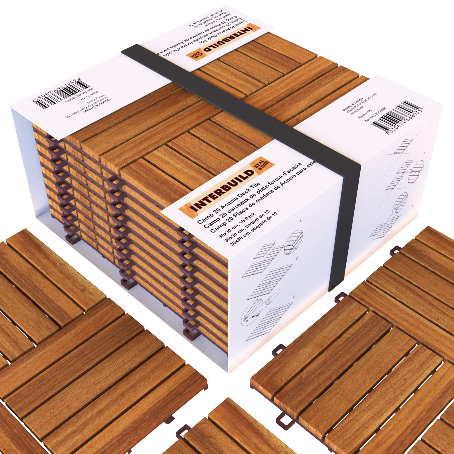 Acacia Hardwood Deck and Patio Easy to Install Interlocking Flooring Tiles 12''×12'' - 10 TILES / PACK - Totally 10 Sq. Ft. by INTERBUILD REAL WOOD