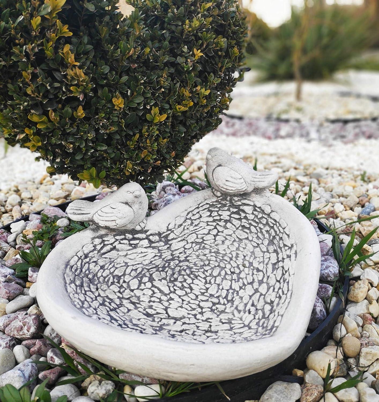 Adorno de piedra para jardín, diseño de corazón con pájaros: Amazon.es: Jardín