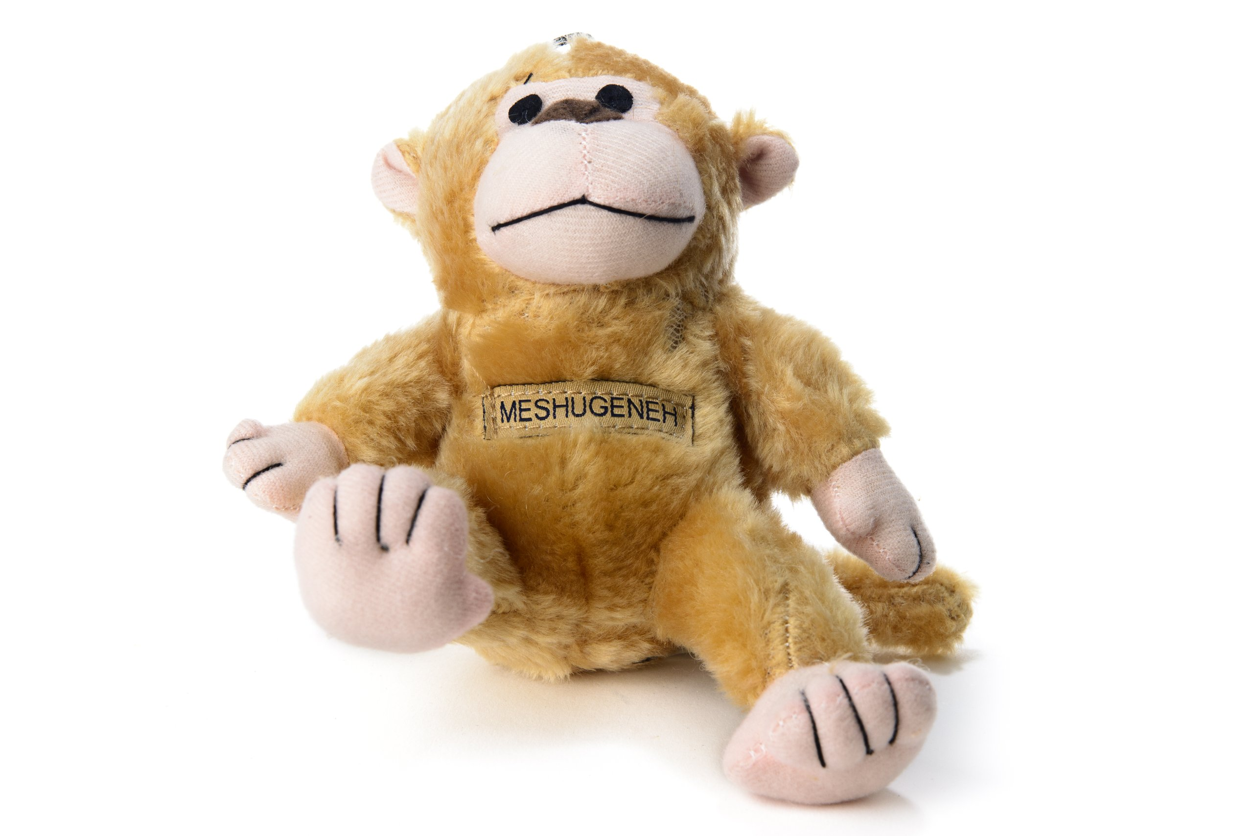 Copa Judaica Chewish Treat Meshugenah Monkey Squeaker Plush Dog Toy, Light Brown